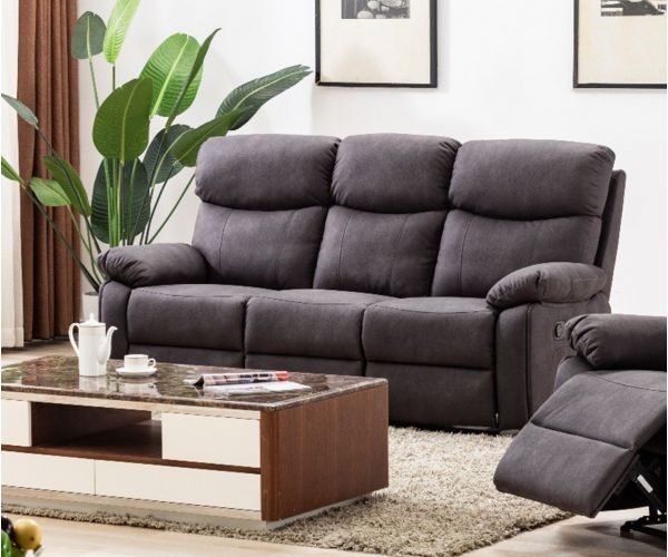 Annaghmore Prescot Grey Fabric Recliner 3 Seater Sofa