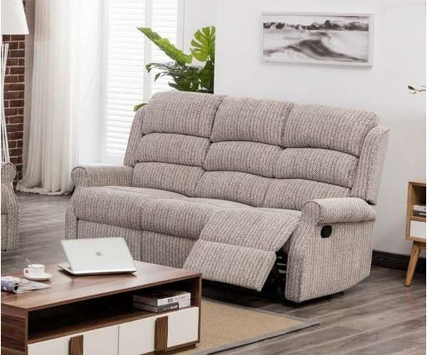 Annaghmore Windsor Latte Fabric Recliner 3 Seater Sofa