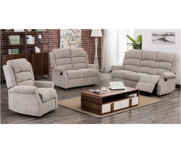Annaghmore Windsor Latte Fabric Recliner 3+1+1 Sofa Suite
