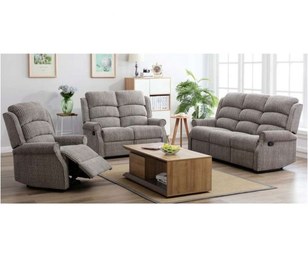 Annaghmore Windsor Natural Fabric Recliner 3+1+1 Sofa Suite
