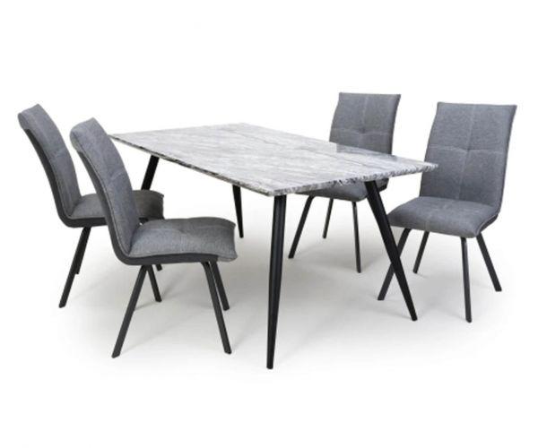 Shankar Arden Marble Effect Medium Dining Table with 4 Ariel Linen Effect Light Grey Chair