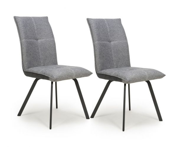 Shankar Ariel Light Grey Linen Effect Dining Chair in Pair