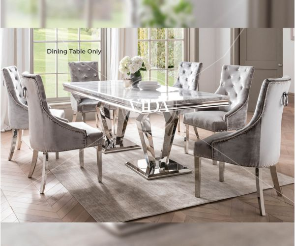 Vida Living Arturo Grey Marble Large Dining Table