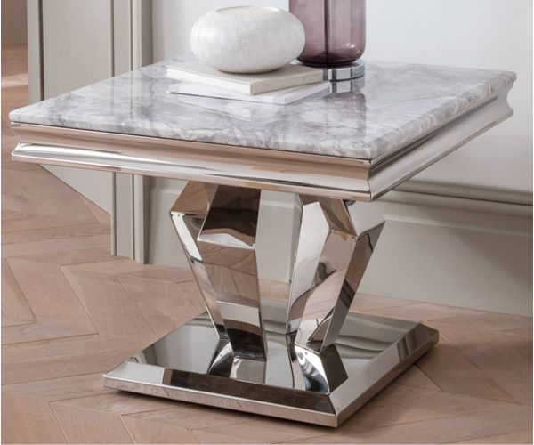 Vida Living Arturo Grey Marble Lamp Table