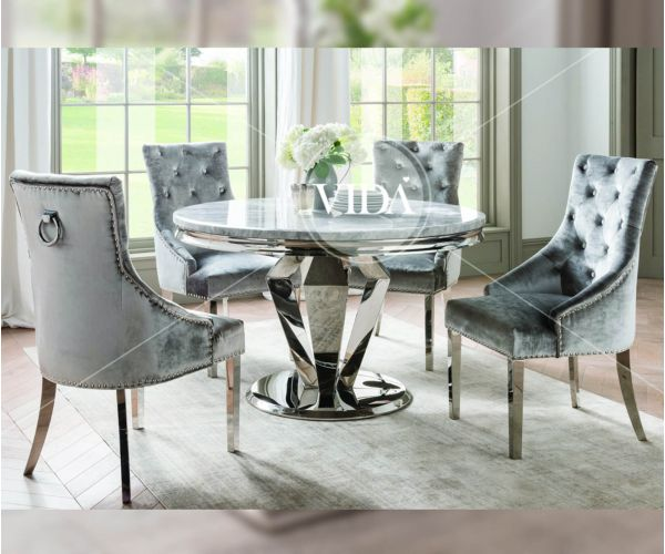 Vida Living Arturo Grey Marble Round Dining Table