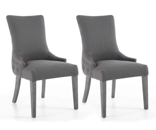 Shankar Ashley Antique Grey Fabric Accent Chair in Pair