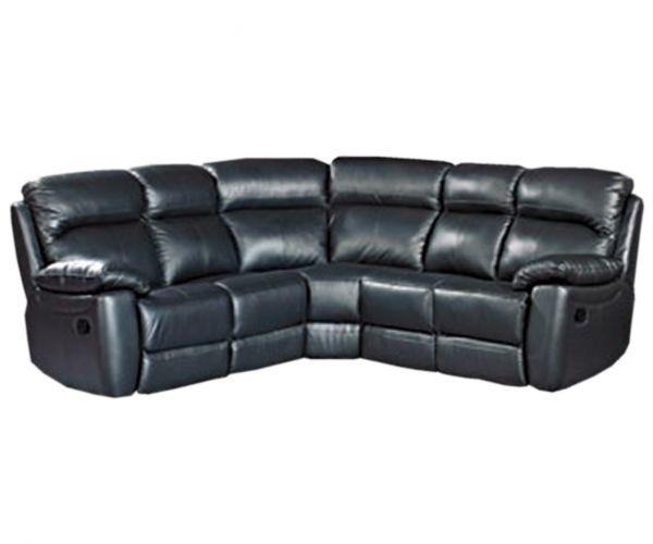 Furniture Link Aston Black Leather Recliner Corner Group