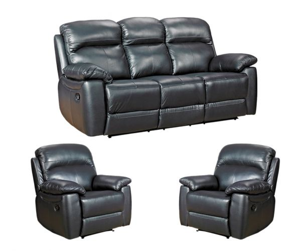 Furniture Link Aston Black Leather 3RR+1R+1R Sofa Set