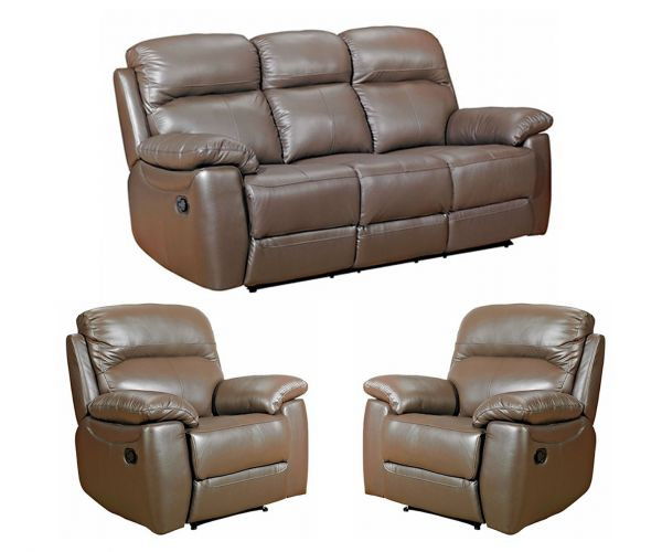 Furniture Link Aston Brown Leather 3+1+1 Sofa Set