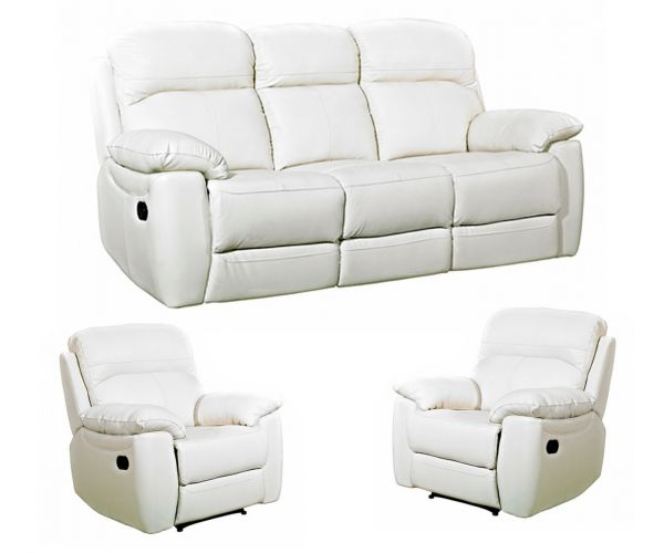 Furniture Link Aston Ivory Leather 3+1+1 Sofa Set