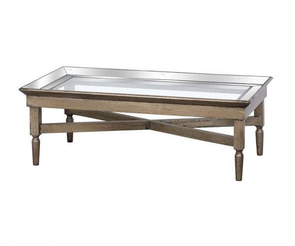 Astor Glass Coffee Table with Mirror Detailing