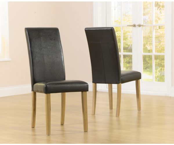 Mark Harris Atlanta Black Faux Leather Dining Chair in Pair