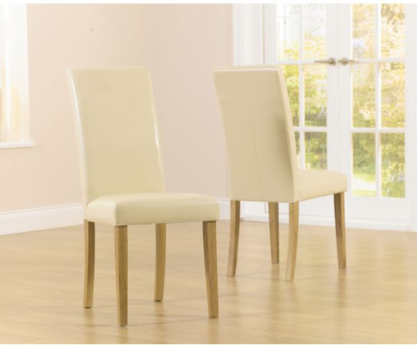 Mark Harris Atlanta Cream Faux Leather Dining Chair in Pair