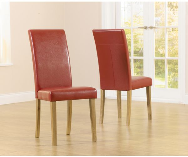 Mark Harris Atlanta Red Faux Leather Dining Chair in Pair