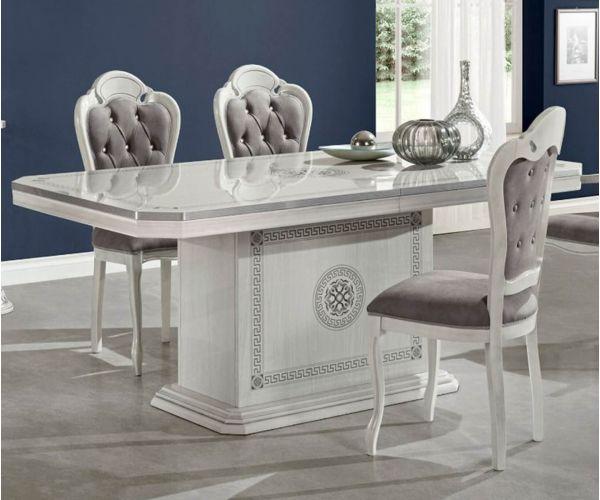 H2O Design Aurora Birch White Silver Italian Rectangular Extending Dining Table Only