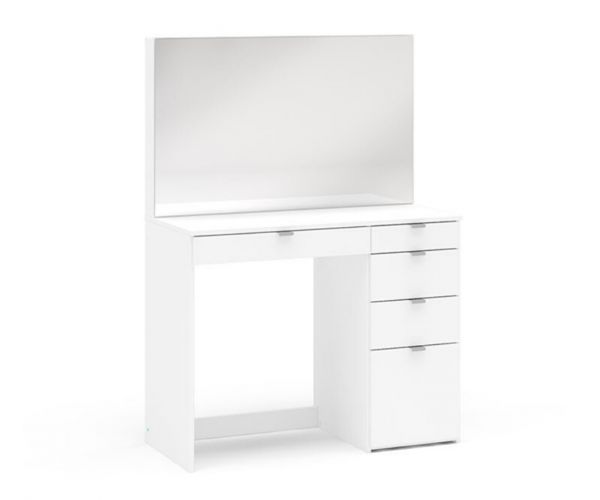 Birlea Furniture Ava White 5 Drawer Dressing Table and Mirror