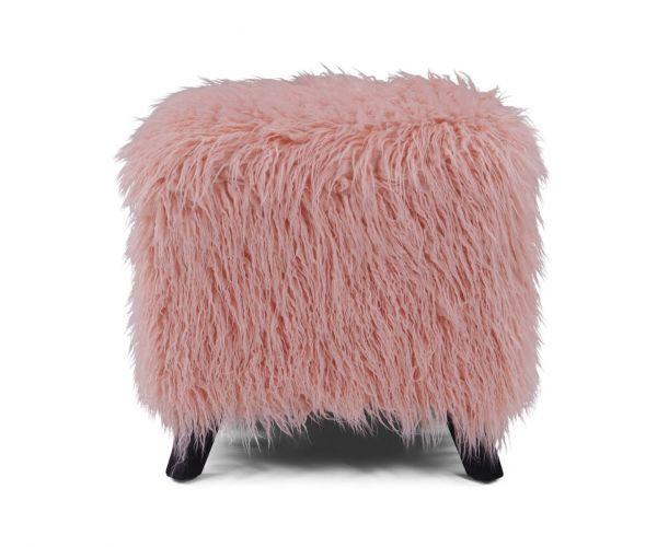Derrys Furniture Heavy Shag Pink Faux Sheepskin Cube Stool