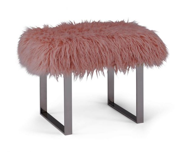 Derrys Furniture Faux Pink Sheepskin Bench