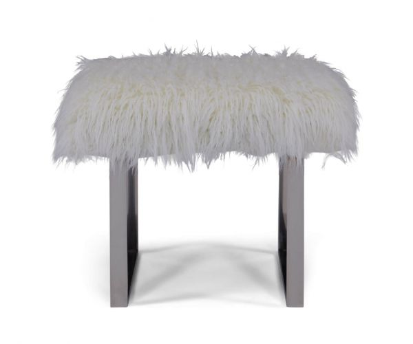 Derrys Furniture Faux White Sheepskin Bench