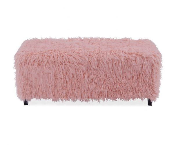 Derrys Furniture Heavy Shag Faux Pink Sheepskin Ottoman Box