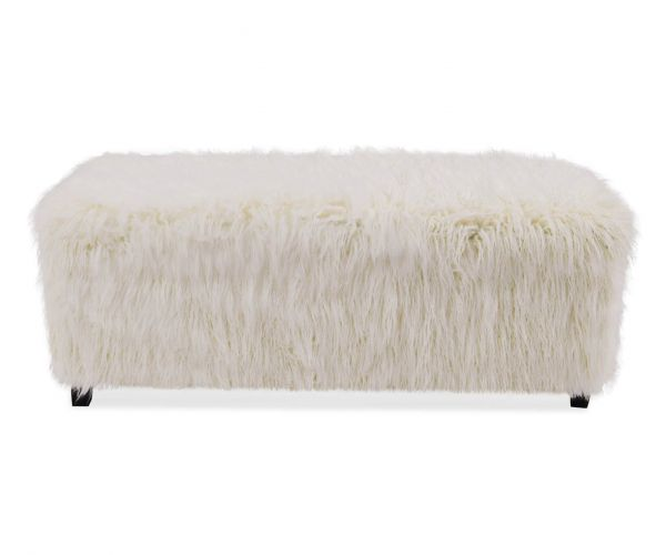 Derrys Furniture Heavy Shag Faux White Sheepskin Ottoman Box