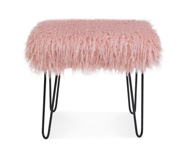 Derrys Furniture Sheepskin Pink Dressing Table Stool