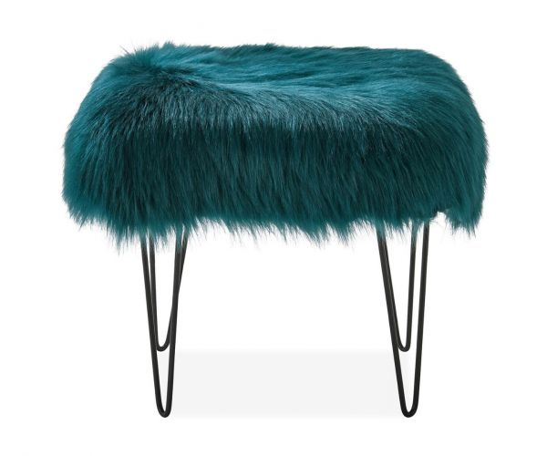 Derrys Furniture Sheepskin Teal Dressing Table Stool