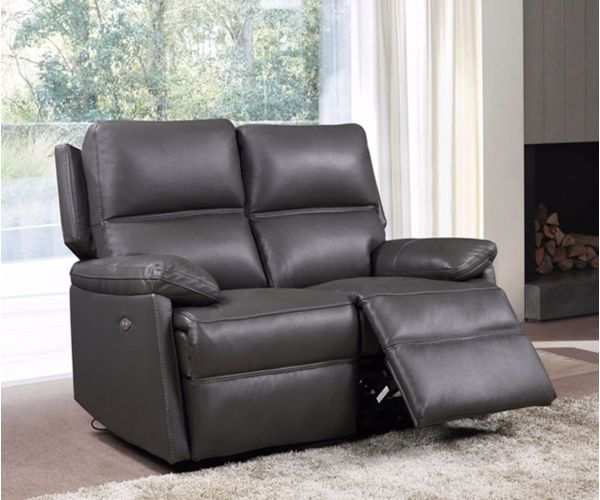 Furniture Link Bailey Grey Leather 2 Seater Electric Recliner Sofa