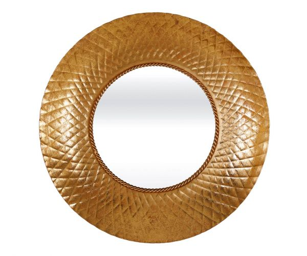 Serene Furnishings Bally Gold Round Wall Mirror