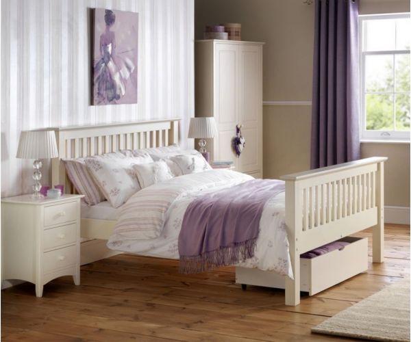 Julian Bowen Barcelona White High Foot End Wooden Bed Frame