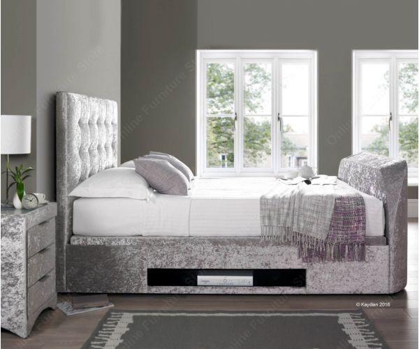 Kaydian Beds Barnard Silver Crushed Velvet TV Bed Frame