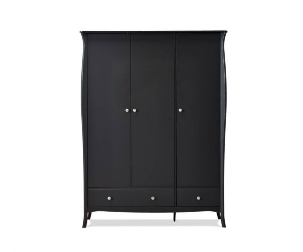 Steens Baroque Black 3 Door 3 Drawer Wardrobe