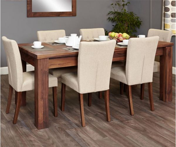 Baumhaus Mayan Walnut Extending Dining Set with 6 Flare Back Biscuit Upholstered Chairs