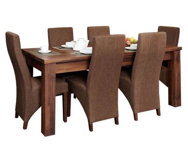 Baumhaus Mayan Walnut Extending Dining Set with 6 Hazelnut Upholstered Chairs