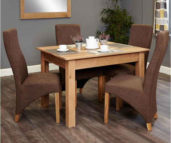 Baumhaus Mobel Oak Dining Set with 4 Full Back Upholstered Chairs