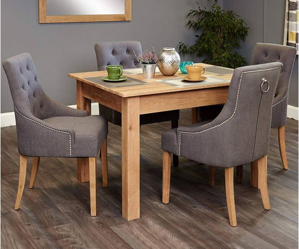 Baumhaus Mobel Oak Dining Set with 4 Stone Fabric Upholstered Chairs