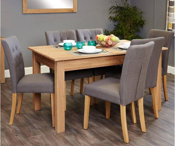 Baumhaus Mobel Oak Dining Set with 6 Flare Back Grey Upholstered Chairs