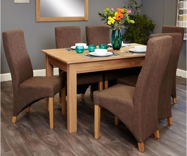 Baumhaus Mobel Oak Dining Set with 6 Full Back Upholstered Chairs