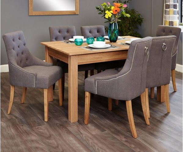 Baumhaus Mobel Oak Dining Set with 6 Stone Fabric Upholstered Chairs