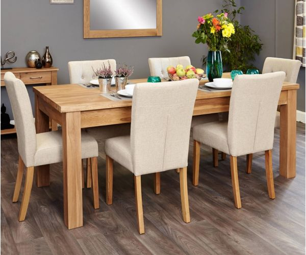 Baumhaus Mobel Oak Extending Dining Set with 6 Flare Back Cream Upholstered Chairs