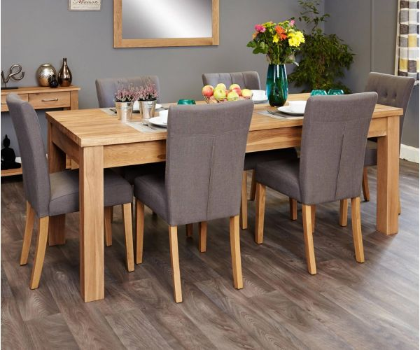 Baumhaus Mobel Oak Extending Dining Set with 6 Flare Back Grey Upholstered Chairs