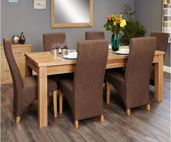 Baumhaus Mobel Oak Extending Dining Set with 6 Full Back Upholstered Chairs