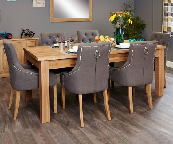 Baumhaus Mobel Oak Extending Dining Set with 6 Stone Fabric Upholstered Chairs