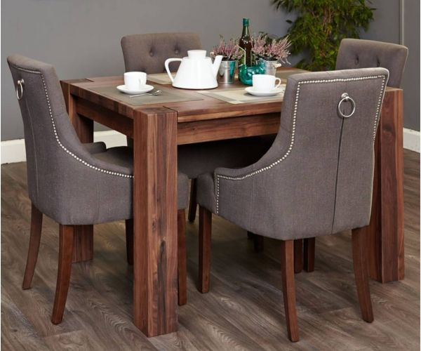 Baumhaus Shiro Walnut Dining Set with 4 Accent Slate Upholstered Chairs