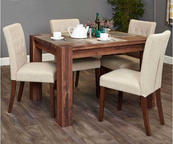 Baumhaus Shiro Walnut Dining Set with 4 Flare Back Biscuit Upholstered Chairs