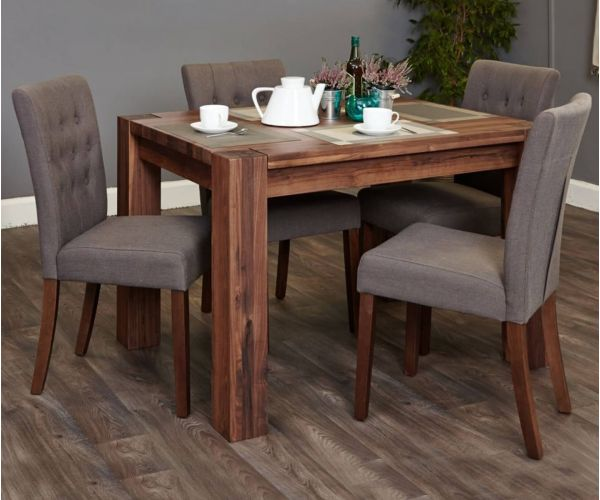 Baumhaus Shiro Walnut Dining Set with 4 Flare Back Slate Upholstered Chairs
