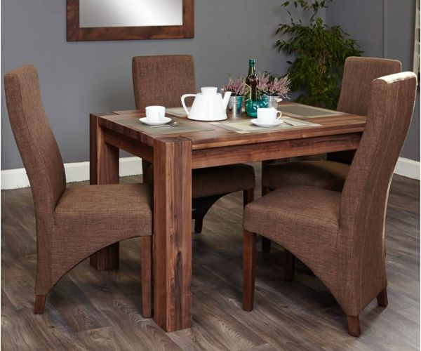 Baumhaus Shiro Walnut Dining Set with 4 Hazelnut Upholstered Chairs