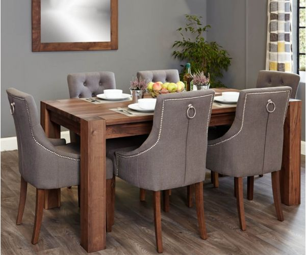 Baumhaus Shiro Walnut Dining Set with 6 Accent Slate Upholstered Chairs