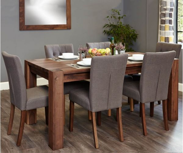 Baumhaus Shiro Walnut Dining Set with 6 Flare Back Slate Upholstered Chairs