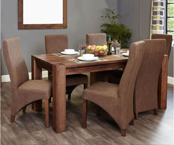 Baumhaus Shiro Walnut Dining Set with 6 Hazelnut Upholstered Chairs
